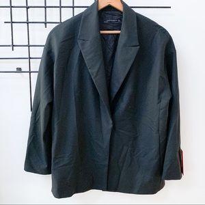 Zara Oversized Blazer with Hidden Closure Black